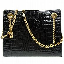 Tiffany & Co. Embossed Leather Black Hand Bag
