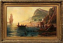 Pietro Bello Oil on Canvas Town Seascape 19th c.