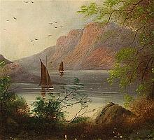 19th C Oil on Board Landscape w/ Sailboats