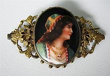 Antique Hand Painted Portrait Porcelain Pin Brooch