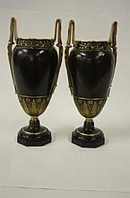 PAIR 19th C. MIXED METAL URNS