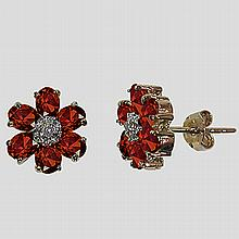3.37 CT Garnet & Diamond Fine Earrings