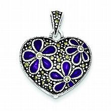 Ladies Sterling Silver Marcasite Heart Pendant