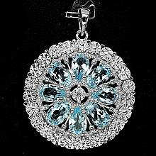 Blue Topaz, Diamond Pendant