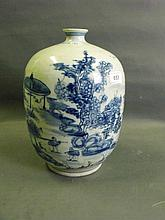 A large Chinese ovoid blue and white pottery vase
