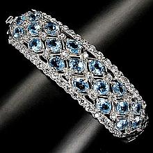 Beautiful SWISS BLUE TOPAZ-WHITE TOPAZ BRACELET