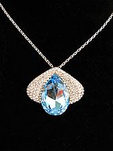 Stunning Aquamarine & Crystal Necklace