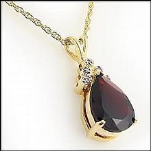 Garnet, Diamond Pendant Necklace