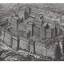 ORIGINAL Antique PRINT scene -FORTRESS OF THE EMI