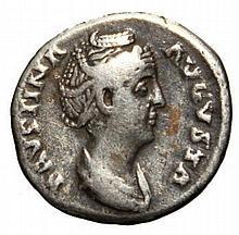 Ancient Roman Silver Denarius, Faustina I