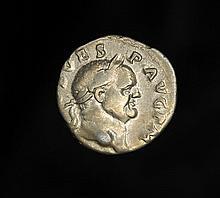 Ancient silver Roman denarius of Emperor Vespasian