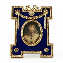 Blue Enameled Faberge Inspired Picture Frame