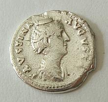 Sterling Silver Roman Denarius Replica, Faustina