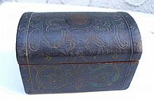 Antique black wooden trinket box.