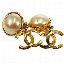 Vintage CHANEL Faux Pearl Clip On Earrings