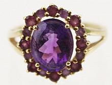 LADIES GOLD/ AMETHYST CLUSTER COCKTAIL RING