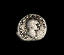 Ancient Roman silver denarius of Emperor Domitian