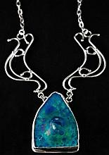 Roman Glass Cabochon and Sterling Silver Necklace