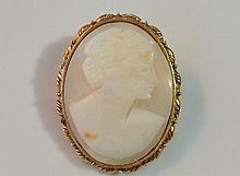 Large Vintage Gold Filled Cameo Brooch