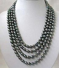 Black Akoya Rice Pearl Necklace 100inches