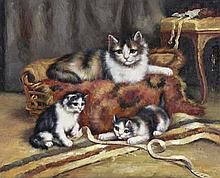 8 X 10 Oil on Board ~Kittens at Play~