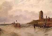Signed English Coastal Seascape Oil Painting