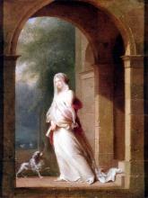Ceramic Art Tile, Romantic Lady Under an Arch