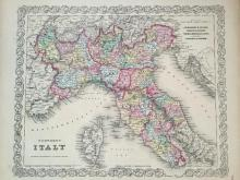 1856 Colton Hand-colored Map of Northern Italy