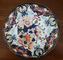 19thc Royal Crown Derby Imari Flow Blue Plate