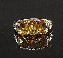 Gorgeous Golden Citrine Yellow Gold Mulit-Stone Ri