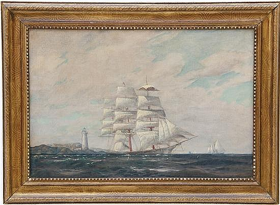 CLIPPER SHIP OFF A LIGHTHOUSE POINT OIL PAINTING