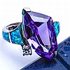 Stunning Amethyst, Blue Australian Opal Ring