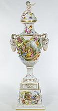 Huge Dresden Hand Painted Porcelain Vase 37