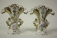 PAIR MI 19th C. FRENCH PORCELAIN FLAIR VASES