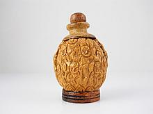 Handcarved Chinese Walnut Snuff Bottle