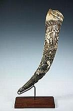 18th c. European Hand Carved Hunting Horn