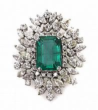 5.56 CARAT EMERALD AND DIAMOND PENDANT