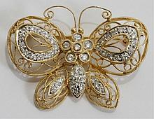 YELLOW GOLD FILIGREE & DIAMOND BUTTERFLY PIN, L 1