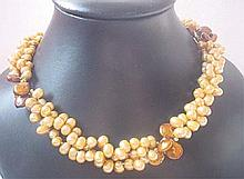 Multistrand Champagne Pearl Coin Necklace