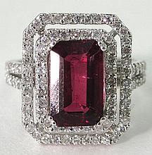Lady's 14K White Gold Rubelite Dinner Ring, with a