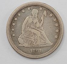 1861 Liberty Quarter Dollar