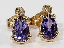 14KT GOLD TANZANITE AND DIAMOND EARRINGS:H 3/8