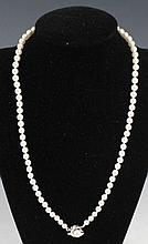 LADIES PEARL NECKLACE W/ 14K WHITE GOLD CLASP
