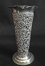 Victorian silver bud vase by William Comyns