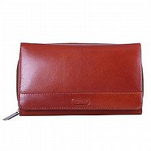 Women's Elegant Shopping Wallet in Cognac