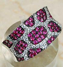 Designer 2 ct Ruby & White Topaz Ring