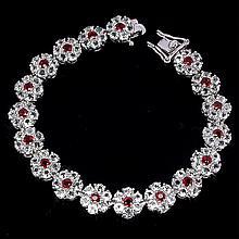 Flawless 81ct Red Sapphire & White Topaz Bracelet