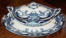 Blue Staffordshire Platter & Covered Bowl