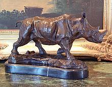 Magnificent Bronze Sculpture Rhinoceros