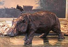 Magnificent Bronze Sculpture Hippopotamus Hippo